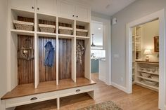 Mudroom with bench/cubbies and closet nook - Gray Owl Benjamin Moore. Mark D. Williams Custom Homes Inc Front Door Paint Colors, Painted Front Doors, Room Paint Colors, Paint Colors For Home, Benjamin Moore, Cubbies, Exterior Gray Paint, Hallway Designs, Basement Designs