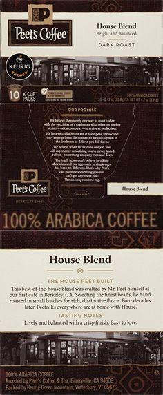 Peet's Coffee House Blend, Dark Roast K-Cup Packs, 60 Count