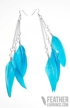 Love these! Sky Blue Goose Feather Trio Long Feather Earrings $17.99
