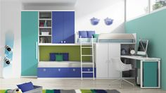 Juvenil Cama tren con escritorio integrado y armarios tipo altillo. Ref: JUV14 Mobelinde - Muebles a medida   Another great combo, even combining desk. Big challenges for that room are sleeping room for 3, space for Dan's clothes AND a mini office spot & storage for him.