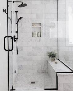 Black Bathroom Design Inspiration - Boxwood Ave - - Take a peek at the design plan for our latest bathroom remodel: a black bathroom with wood vanity and gorgeous subway tile with splashes of marble! Bathroom Design Inspiration, Bad Inspiration, Bathroom Interior Design, Design Ideas, Shower Inspiration, Interior Ideas, Best Bathroom Tiles, Bathroom Black, Master Shower Tile