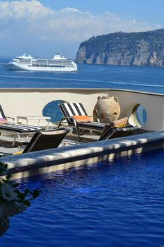 Sorrento, Italy - Panoramic terrace with a Jacuzzi pool at Hotel Bellevue Syrene.  Wish I was there now!