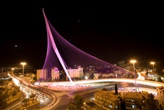 Jerusalem's Bridge of Chords. This bridge offers a passage way for the light rail that takes people of all backgrounds from one end of Jerusalem to the other. It is on of the defining points upon entering Jerusalem.