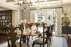 Long table and double chandeliers - 27 Beautiful Dining Rooms That Will Make Your Jaw Drop