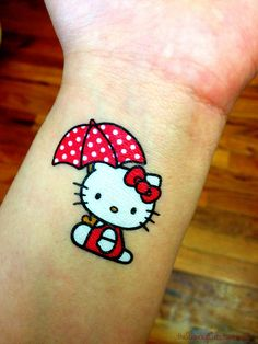 Hello kitty with umbrella tattoo, Hello Kitty tattoos Rain Tattoo, Umbrella Tattoo, Tattoo Art, Cupcake Tattoos, Disney Tattoos, Hello Kitty Tattoos, Latest Tattoos, Hello Kitty Birthday, Hello Kitty Wallpaper