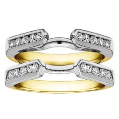 Sterling Silver 1ct Cubic Zirconia Solitaire Wedding Ring and Classic Guard Set (Two Tone Sterling Silver, Size 4), Women's, Multicolor