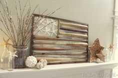Fireplace mantel decor using baseball bats! LOVE this! By Finding Home, Could be nice with driftwood too!
