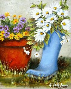 artist Stella Bruwer blue boot with daisies red pot with yellow and purple flowers Pictures To Paint, Art Pictures, Photos, Stella Art, Decoupage, Creation Photo, Pebble Painting, Naive Art, Art Themes