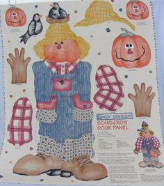 1997 Daisy Kingdom Scarecrow Door Panel Crows Pumpkins Easy Cut and Sew for sale online Halloween Scarecrow, Halloween Stuff, Needlepoint Kits, Embroidery Kits, Panel Doors, Fabric Panels, Daisy, Cross Stitch, Kids Rugs
