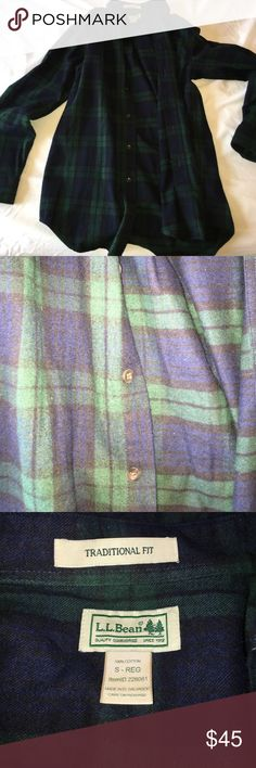 L.L. Bean oversized Flannel An oversized blue and green Flannel. Super soft material L.L. Bean Tops Button Down Shirts