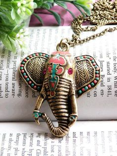 Pretty retro copper colorful glaze indian elephant head with purple crystals eyes necklace pendant jewelry vintage style from on Etsy. Indian Elephant, Elephant Head, Elephant Love, Elephant Stuff, Elephant Parade, Elephant Jewelry, Elephant Necklace, Mode Shoes, Vintage Jewelry