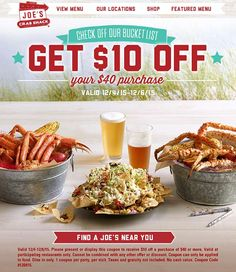Pinned December 5th: $10 off $40 at Joes #Crab Shack restaurants #coupon via The #Coupons App Pizza Hut Coupon, Joe Crab Shack, Restaurant Deals, Shopping Coupons, Printable Coupons, Free Printable, Food, App, Restaurants