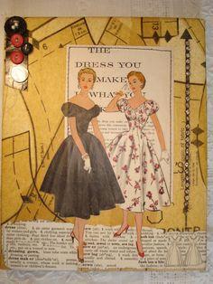 vintage pattern collage on canvas