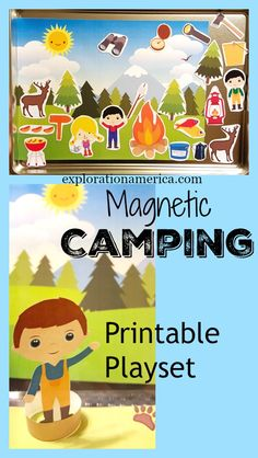 Free Printable Magnetic Camping Playset for preschool and kids - great road trip travel set to bring along to keep the kids busy! Just print, add on magnets and stick on a baking sheet! Flat for storage!