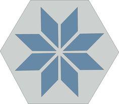 H20M003  format 20 cm #Hexagones #Carreauxciment #Etoile