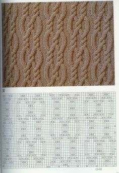 Cable chart pattern араны, вязание