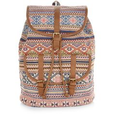 Accessorize Festival Woven Rucksack (1,040 MXN) ❤ liked on Polyvore featuring bags, backpacks, rucksack bag, knapsack bags, woven backpack, print backpacks and pattern bag