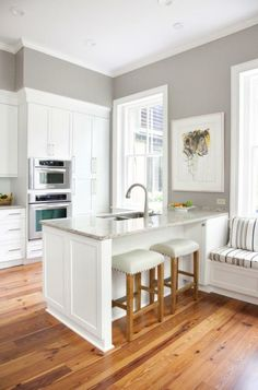 You have got a small kitchen, we've got ideas to make it better - including tips, pictures, and storage solutions. Look out design inspiration from these awesome small kitchen design ideas. White Kitchen Cabinets, Kitchen Redo, New Kitchen, Kitchen Ideas, Gray Kitchen Walls, Grey Walls, Kitchen Interior, Kitchen Island, Kitchen Inspiration