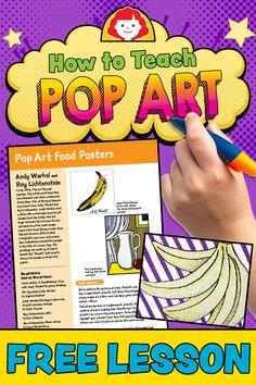 Making Art Relevant in the Classroom: How to Teach Pop Art Kunstunterricht kunstunterricht sekundarstufe pop art Pop Art For Kids, Art Lessons For Kids, Art Lessons Elementary, Color Art Lessons, Middle School Art Projects, Art School, Back To School Art, Wayne Thiebaud, Drawing Lessons
