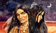 Gouache painting of a Native American by Geraldine Aikman: The Couple This is available as a print. Stock Art, Gouache Painting, Native Americans, American Indians, Nativity, Art Gallery, Portrait, Art Paintings, Illustration