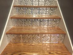 Faux pushed tin ceiling tiles cut to fit stair risers! Faux pushed tin ceiling tiles cut to fit stair risers! Styrofoam Ceiling Tiles, Faux Tin Ceiling Tiles, Tin Tiles, Tin Ceiling Kitchen, Ceiling Tiles Painted, Tiles Uk, Casa Magnolia, Staircase Makeover, Painted Stairs