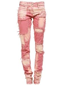 Patchwork jeans. I need a pair of these!! Pink <3