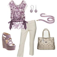 Nice spring look in shades of lavender and white. I might swap the neutral Coach bag for a dark purple shoulder bag or tote to add a deeper hue to the overall ensemble.