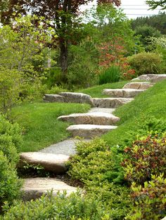 Relaxed natural path created with rustic stone steps.