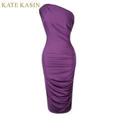 Kate Kasin Summer Women One-Shoulder Dresses Vestidos Purple Solid Slim 2017 Sexy Club Bodycon For Cocktail Party Pencil Dress #Affiliate