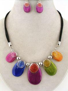 vividly Pop Multi Colors Silver & Black Pendant Fashion Jewelry Art Necklace Set