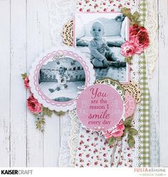 """""""The reason to smile"""" Baby layout by Julia Akinina Design Team member for Kaisercraft using their 'High Tea' collection [April 2017] for this baby layout. Learn more at kaisercraft.com.au/blog ~ Wendy Schultz ~ Scrapbook Layouts."""