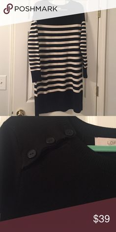 Sweater Dress Re-posh! Black and white stripes with an adorable button detail. Never worn by me, just trying to get back what I paid for it. LOFT Dresses