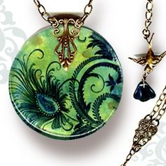 Voyageur - The Alhambra Collection - Peacock Feather Fleur | TzaddiShop - Jewelry on ArtFire