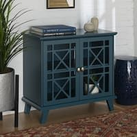 Blue Fretwork Entryway Console - 32 X 16 ShabChic Transitional MDF Veneer Painted Wood Finish Adjustable Shelving Entryway Storage Cabinet, Entryway Console, Bar Furniture, Furniture Deals, Painted Furniture, Glass Cabinet Doors, Glass Door, Glam Room, Dining Room Bar