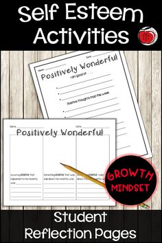 Free SelfEsteem Worksheets Printables for your students Help your students reflect on the wonderful things about themselves Tie it into your growth mindset lessons or use. Self Esteem Worksheets, Self Esteem Activities, Teaching Activities, Teaching Ideas, Positive Self Esteem, Positive Self Talk, Social Emotional Learning, Social Skills, Growth Mindset Lessons