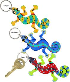 Haitian Folk Art Gecko Keychain