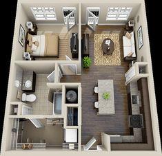 one bedroom house plans One Bedroom House Plans, 1 Bedroom House, Sims House Plans, One Bedroom Apartment, Small House Plans, House Floor Plans, One Bedroom Flat, Duplex House Plans, Dream Apartment
