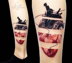 Broken Heart Tattoo by Vlad Tokmenin Body Art Tattoos, New Tattoos, Tattoos For Guys, Tattoos For Women, Tattoo 2016, Tattoo Life, Cat Tattoo Designs, Design Tattoo, Unique Tattoos