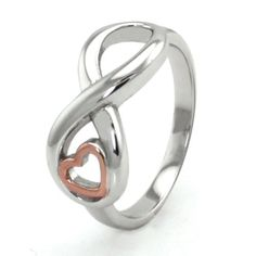 Tioneer Sterling Silver Infinity Ring w/ Rose Gold Heart - Jewelry Silver Infinity Ring, Infinity Jewelry, Infinity Heart, Infinity Rings, Gold Gold, White Gold, Heart Engagement Rings, Engraved Rings, Ring Ring