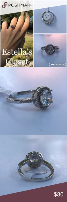 beautiful silver engagement statement ring size 8 silver plated engagement statement ring size 8  condition: Brand new with tag color: silver  size: 8 stamped: S925  perfect for your engagement ring or just because you want it! :) Jewelry Rings