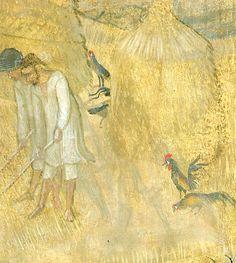 Ambrogio Lorenzetti - La battitura del grano (Gli Effetti del Buono Governo nel contado), dettaglio - affresco - 1338-1339 - Siena - Palazzo Pubblico, Sala dei Nove o Sala della Pace