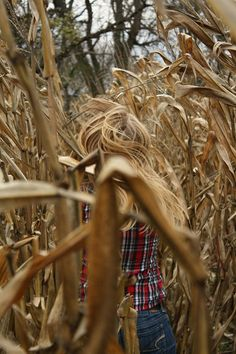 Can you spot the young girl's hair? The same color as the corn!