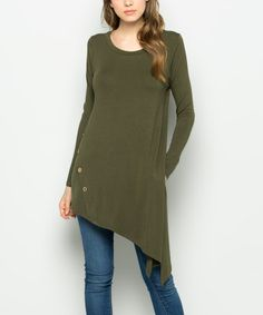 Look what I found on #zulily! Olive Asymmetrical Tunic #zulilyfinds