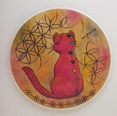 Wood Burned Chakra Cat on Wood Plaque, Yoga Art, Children's Room Decor, Cute Nursery Art