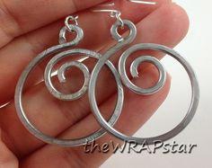 Aluminum Wire Wrapped Jewelry Handmade Wire Earrings Spiral Earrings Wire Wrapped Earrings Hammered Jewelry Gifts Teen Jewelry ITEM0102. $12.95, via Etsy.