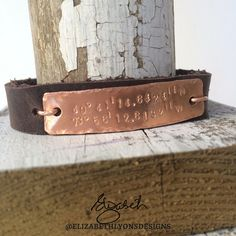 GPS Coordinates leather bracelet   This one reflects the church my customer has attended since she was 10, where she met her husband and where they had their babies blessed. I love significant pieces!   www.ElizabethLyons.com Smile Design, Baby Blessing, Hand Stamped, Brown Leather, Blessed, Handmade Jewelry, Jewelry Design, Husband, Babies