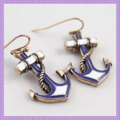 ⚓️Blue & White Enamel Navy Anchor Earrings⚓️ ⚓️⚓️FABULOUS Blue & White Enamel Navy Anchor Pendent Dangle Earrings. Gold Alloy Wire, matches the necklace listed in my closet. Very nice quality!!⚓️⚓️PRICE IS FIRM UNLESS BUNDLED⚓️⚓️ Boutique Jewelry Earrings