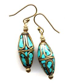 Etnic Earrings Tibet Earrings Nepal Turquoise by Annaart72 on Etsy