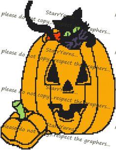 Halloween Black Cat and pumpkin crochet graph pattern by StarrYarns on Etsy