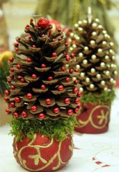 DIY christmas tree. OR-You could cut up old Mardi gras beads and glue them on instead of buying them, spray paint the pine cones first and use as ornaments. Free decorations!